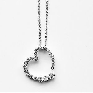 Jewelry - Open heart necklace, clear stones, silver tone
